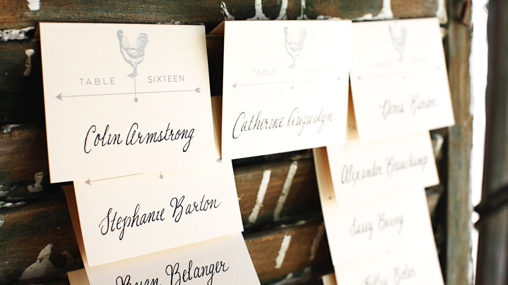Rooster and Hen hand lettered table cards at Riverside Farm in Vermont