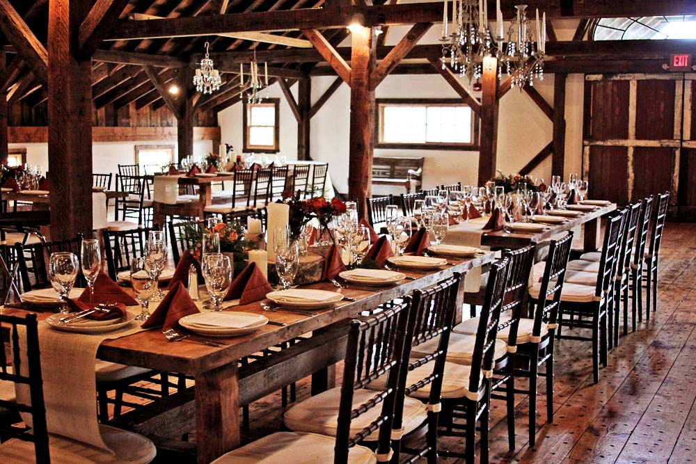 Riverside Farm Wedding Details - Dinner Setting at The Brown Barn