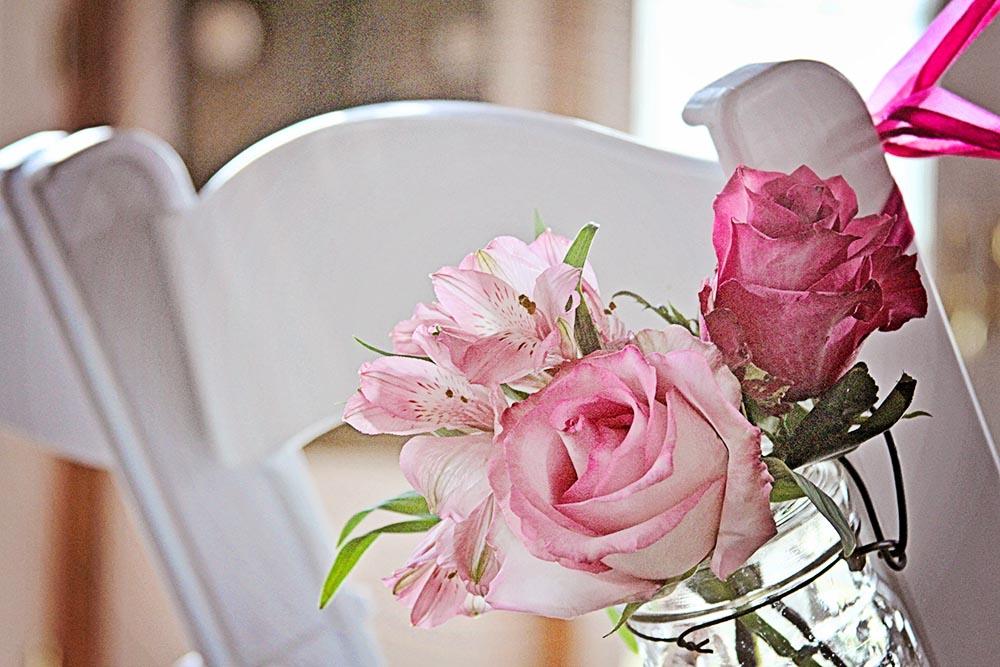 Flowers decorating the wedding ceremony