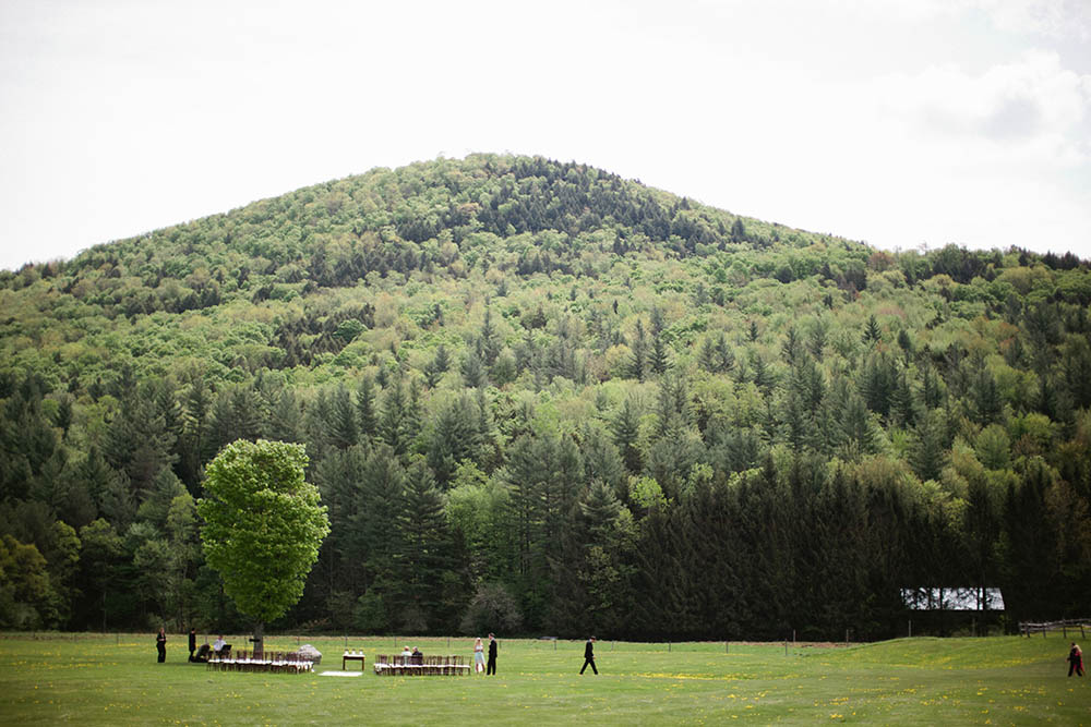 Outdoor wedding site surrounded by the Green Mountains