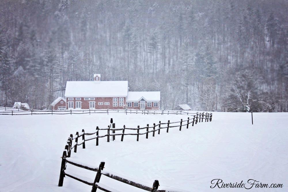 Classic Vermont Farm Wedding site Riverside Farm, Vermont in Winter