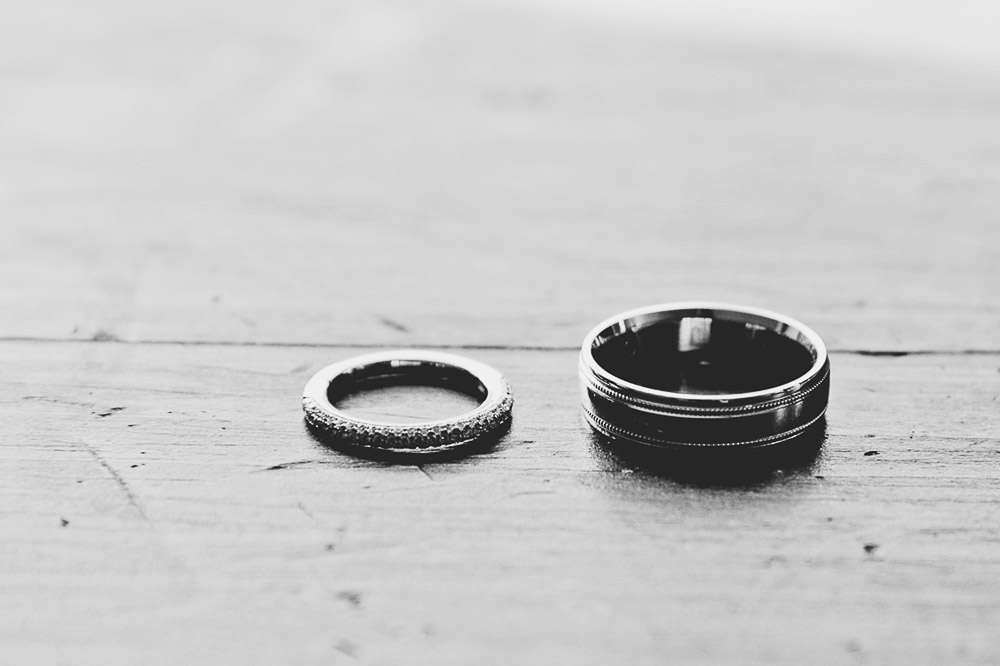 Classic Vermont Wedding Site B+W photo - rings