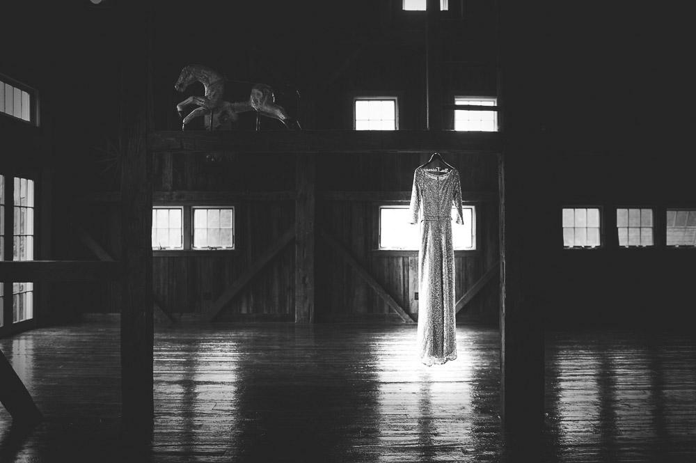 Classic Barn Wedding Dress B+W images