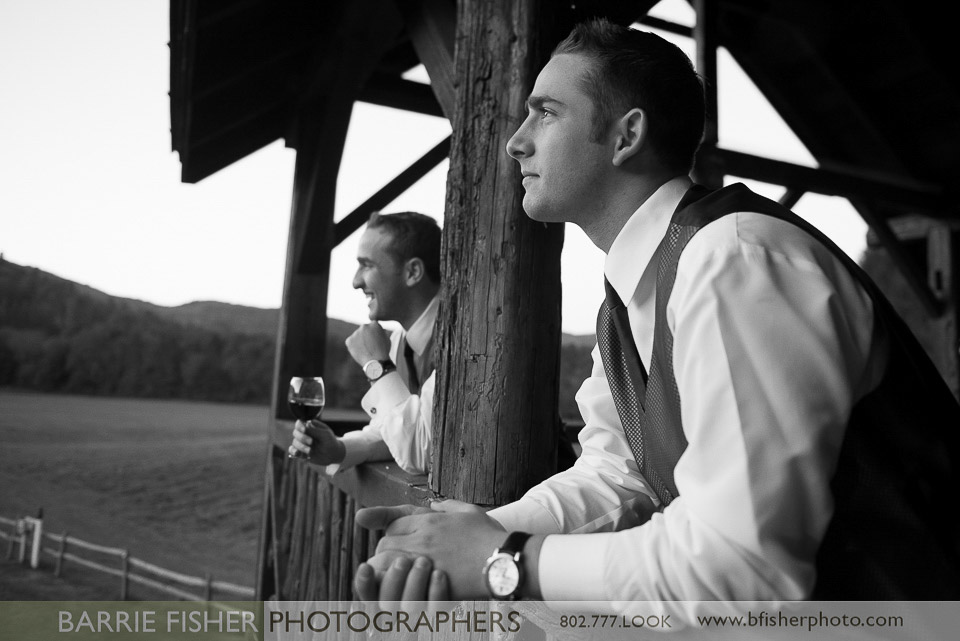 Classic Vermont B+W images Men at Wedding