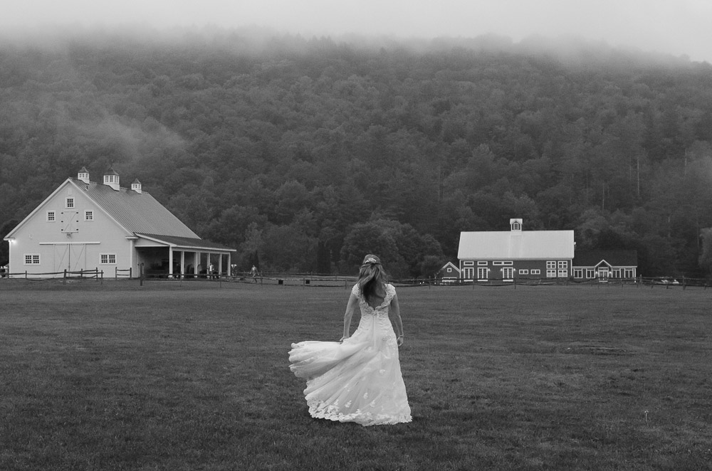 Classic Vermont Wedding Site B+W photo - barns