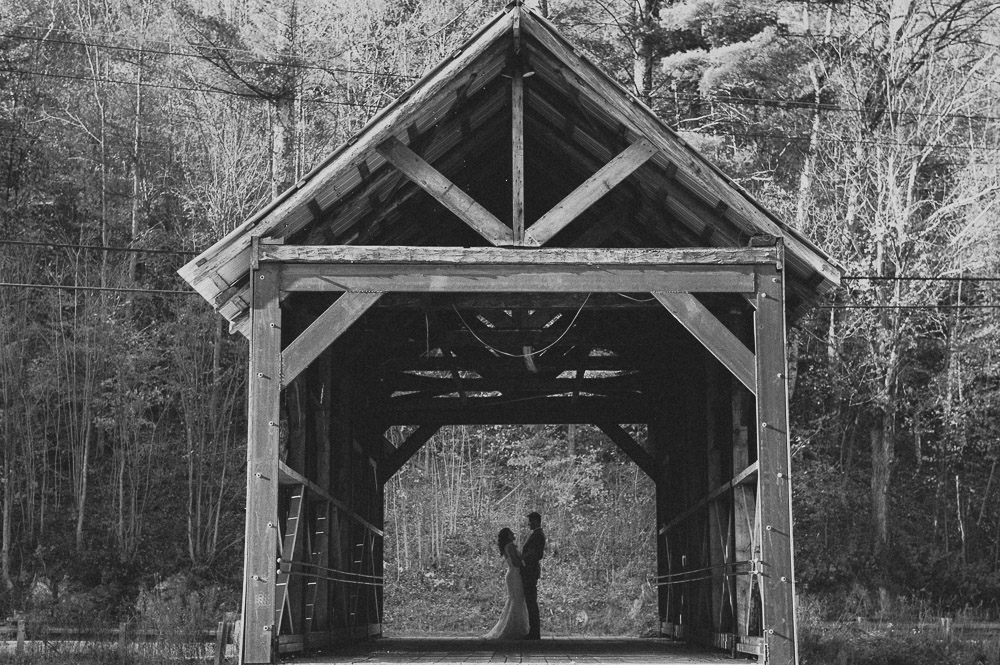 Classic Vermont B+W images Covered Bridge Wedding