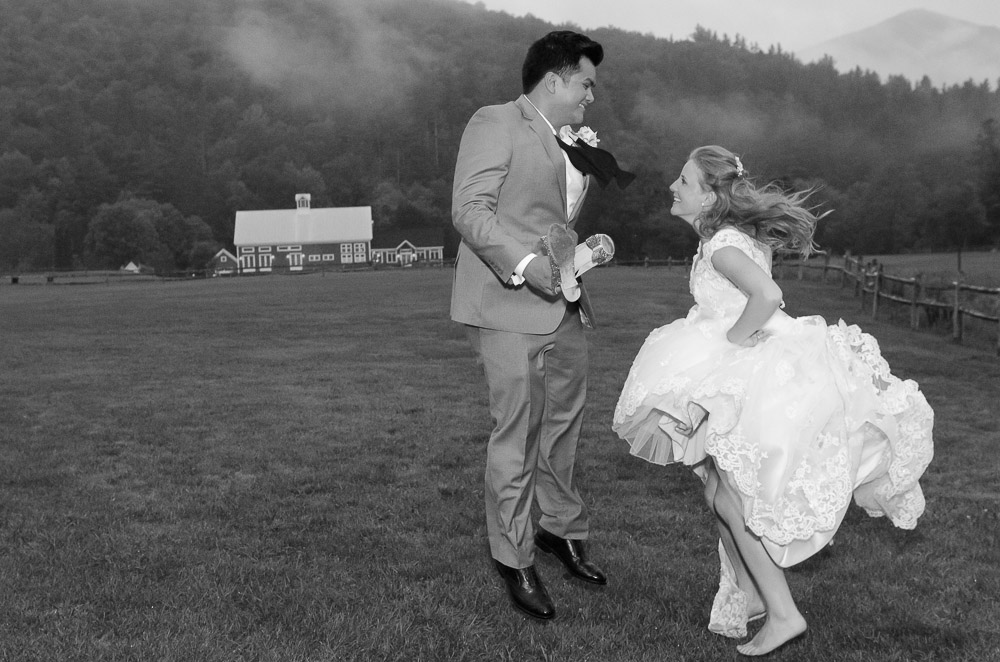Classic Vermont Wedding Site B+W photo - fun
