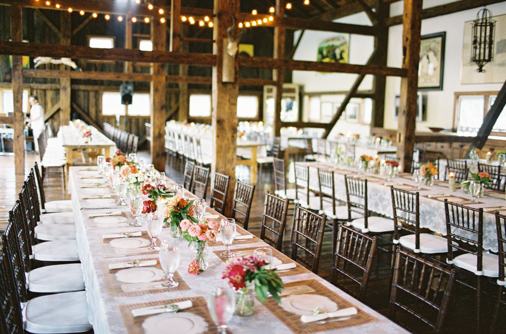 Wedding reception dinner in the Stonewell Barn - photo Jose Villa