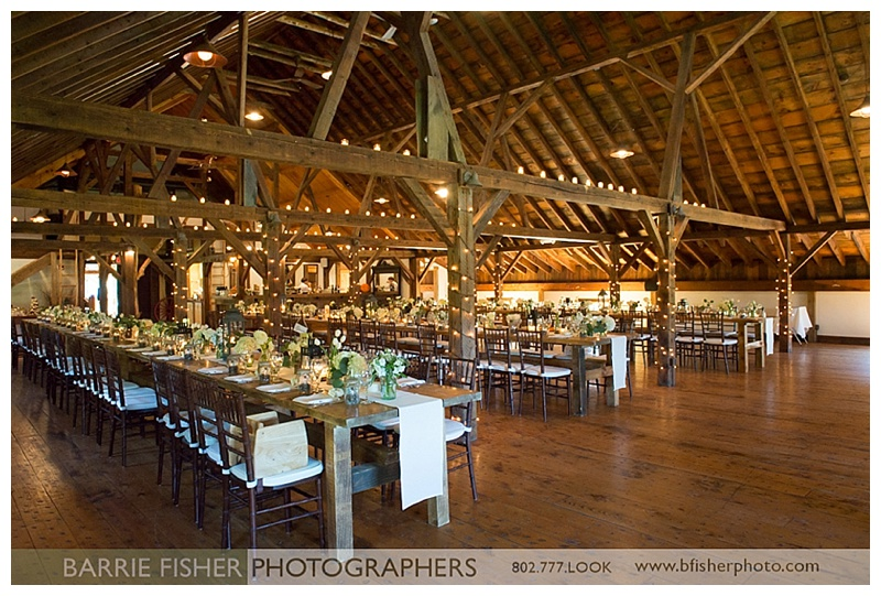 Farm wedding reception dinner