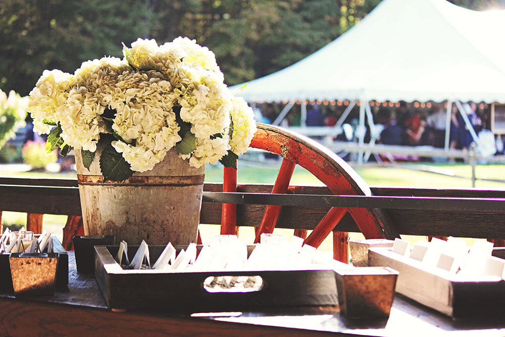 Vermont Farm Wedding Place Card Display