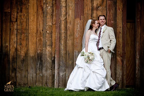 Bride and Groom at wedding barn.
