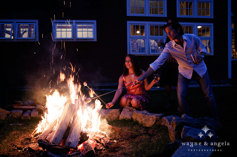 Summer evening by the fire - rehearsal dinner