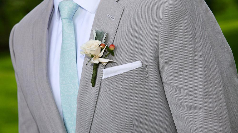 Wedding flowers from Pittsfield Garden Center for the men