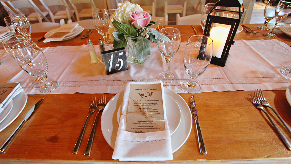 Riverside Farm Wedding details - table settings