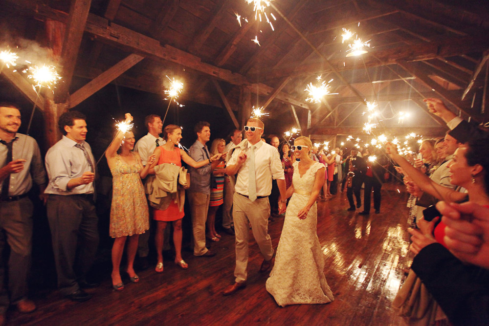 The grand finale to a perfect evening - the wedding exit