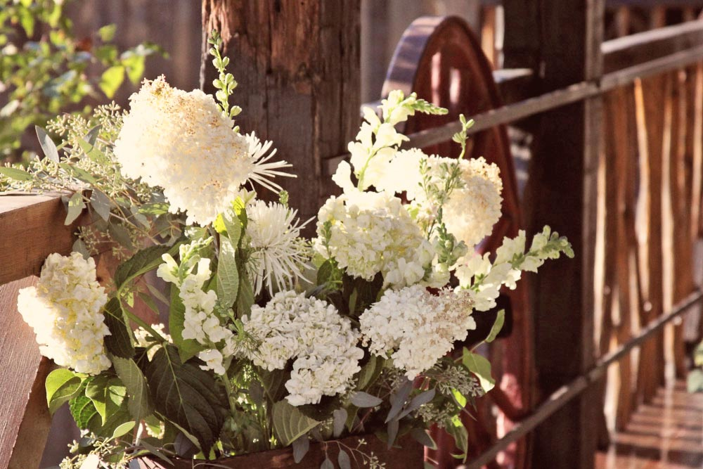 Wedding flowers on a Vermont Barn