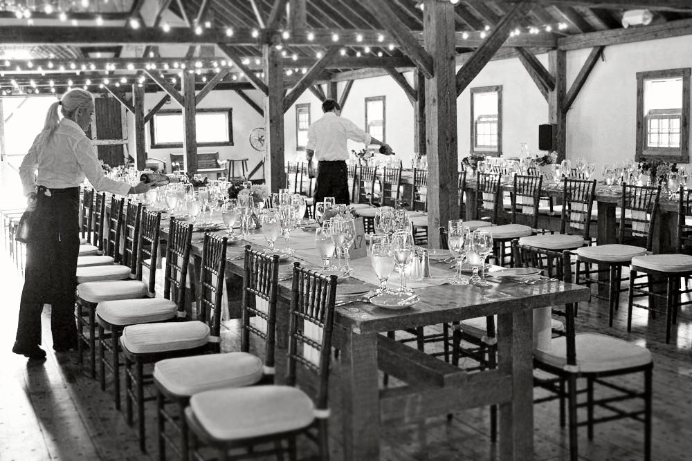 Preparing the for the wedding dinner - Riverside Farm