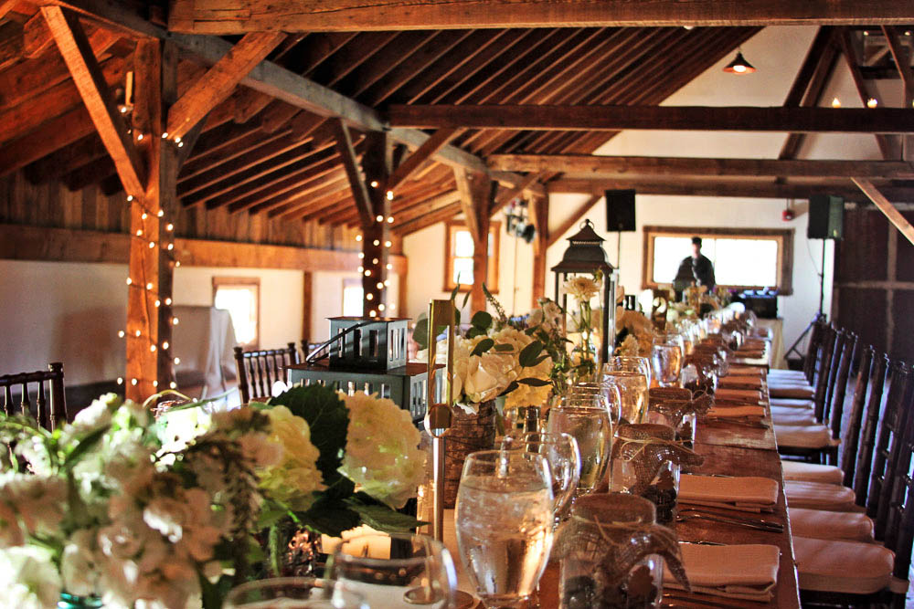 Riverside Farm Vermont - Real Wedding Details - Table settings in the Brown Barn