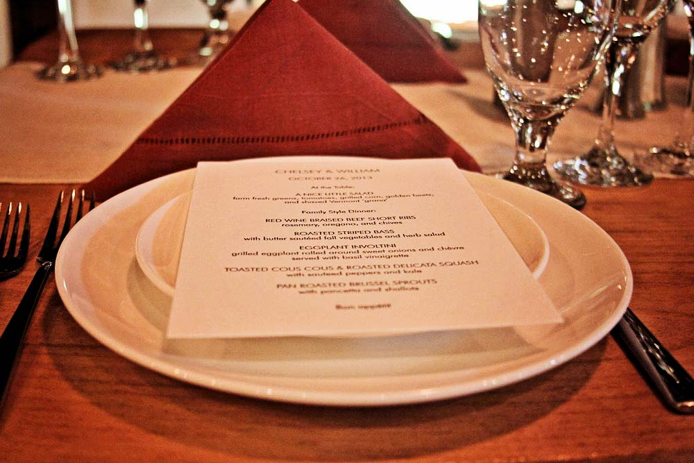 Riverside Farm Wedding Details - The Menu