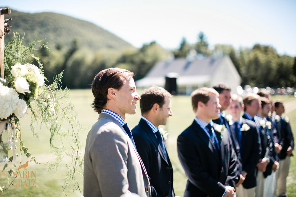 Wedding ceremony in the farm's meadow