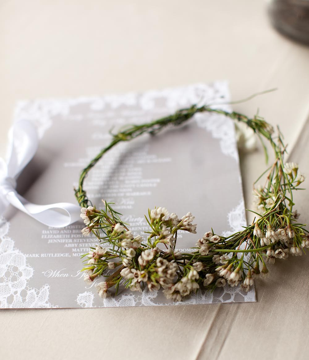 A headpiece or flower crown for the bride.