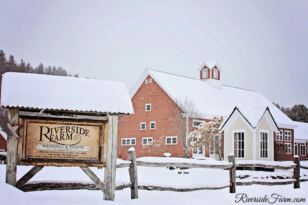 Classic Vermont Farm Wedding site Riverside Farm, Vermont in Winter