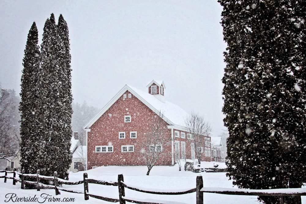 Classic New England Farm Wedding site Riverside Farm, Vermont in Winter