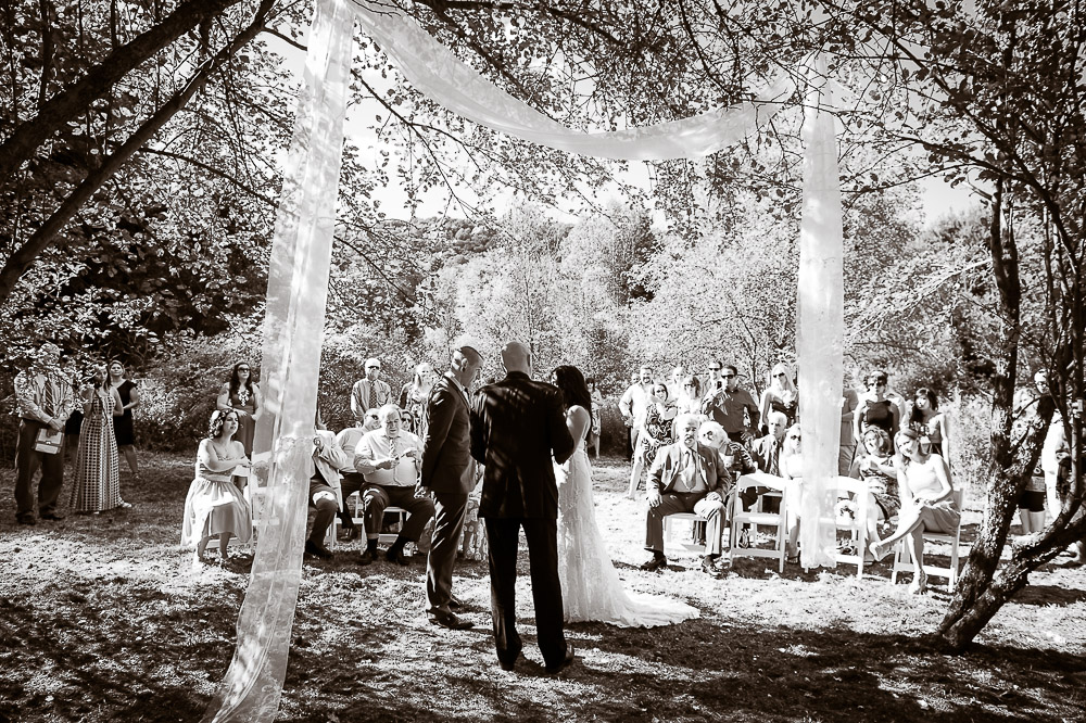 Classic Vermont Woods Wedding B+W images