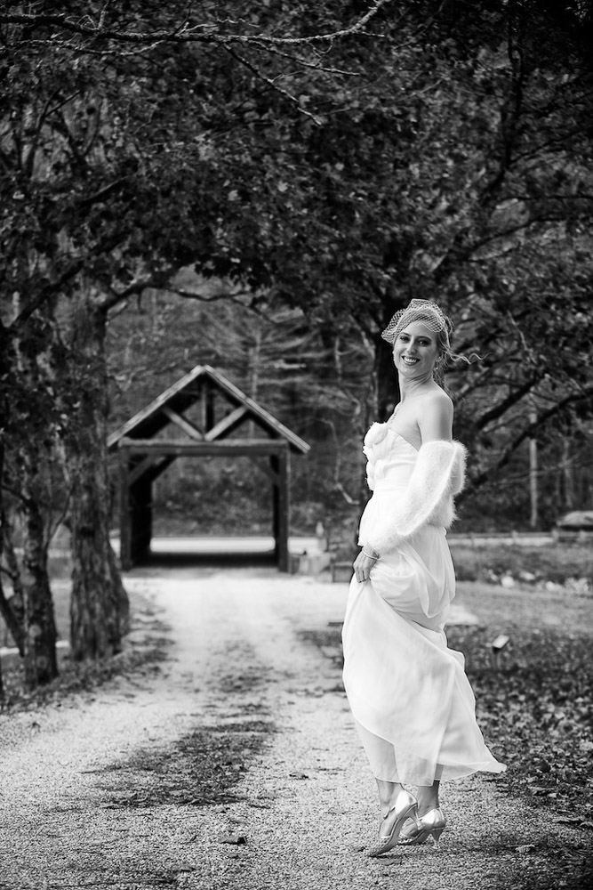 Classic Vermont B+W Covered Bridge Wedding
