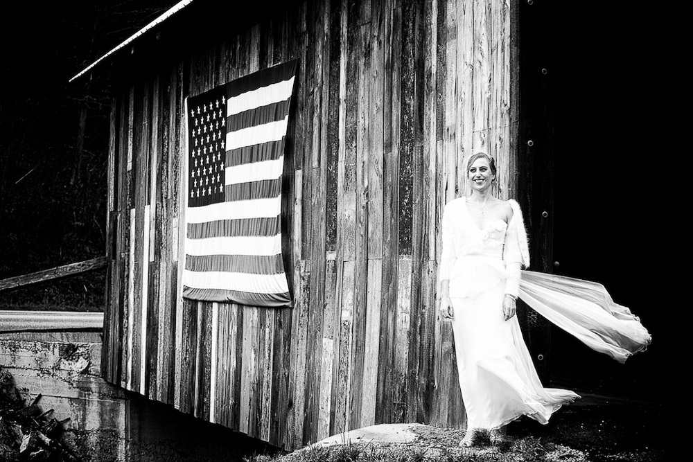 Classic Vermont Wedding Site B+W photo - covered bridge