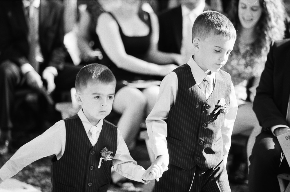 Classic Vermont Wedding Site B+W photo - ring bearers
