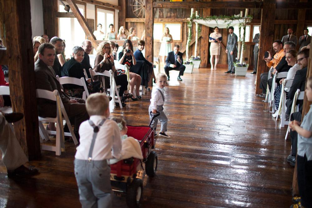 Riverside Farm Vermont Wedding Venue - ceremony in the Red Barn
