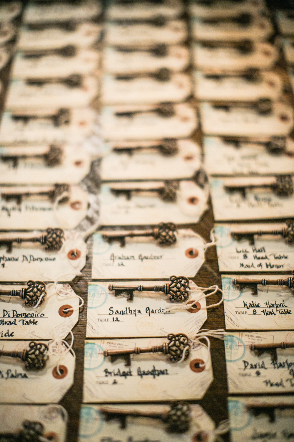 Creative Key Theme Wedding Place Cards